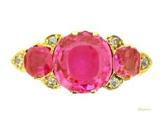 Antique pink Burmese sapphire three stone ring with diamond points, circa 1900   Berganza