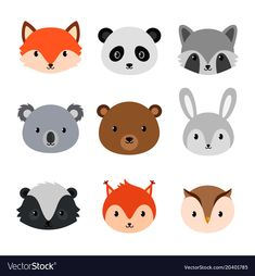 Items similar to Cute baby shower animal heads. on Etsy