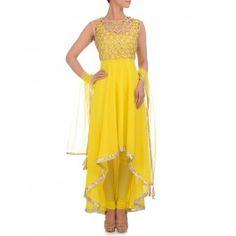 Blazing Yellow Anarkali Suit with Golden Crop Top