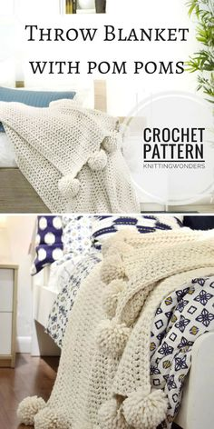 Nice and cozy Throw Blanket Afghan With Pom Poms, Crochet Pattern PDF. This Chunky Wool Blanket will make a nice winter project #crochetpattern #ad #throwblanket #pompomblanket