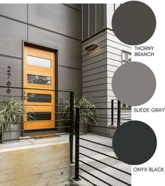 Dark and sophisticated modern exterior paint colors in a grey color scheme. These modern exterior paint colors are perfect for your home. The best resource for modern color schemes that will look good on any home exterior. Exterior Gris, Exterior Gray Paint, Exterior Paint Colors For House, Exterior Design, Gray Exterior Houses, Grey House Paint, Exterior Paint Schemes, Exterior Signage, Wall Exterior