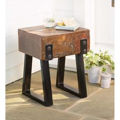 Richland Indoor / Outdoor Reclaimed Wood Stool Or Side Table - Plow & Hearth Sunroom Furniture, Backyard Furniture, Bench Furniture, Furniture Plans, Modern Furniture, Furniture Market, Small Furniture, Furniture Projects, Luxury Furniture