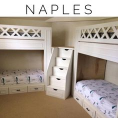 "Naples bunk beds, adult ""L"" quad bunk beds - This L-shaped twin quad bunk configuration is perfect for the kids bedroom or the guest bedroom. Bed Design, Home, Cool Bunk Beds, Bed, Loft Spaces, Bunk Bed Rooms, Space Bedding, Bed Plans, Kids Bedroom"