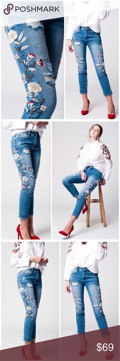 """RESTOCKED Embroidered Jeans 5-pocket distressed jeans in light washed denim and skinny legs. Regular waist, embroidered with flowers. Fabric: 72% Cotton 23% Polyester 3% Viscose 2% Elasthanne. Price is firm unless bundled. LIMITED QUANTITY   M/8  Waist 32"""" Rise 10"""" Inseam 27"""" Hips 40""""  L/10 Waist 34""""                                                                                             Rise 10"""" Inseam 28"""" Hips 42"""" Threads & Trends Jeans Skinny"""
