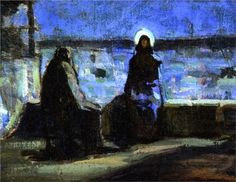 """Nicodemus """"came to Jesus by night"""" (John Lent I wonder if that's not true for all of us. I wonder if we don't all come to Jesus by night. Some have said that Nicodemus was hiding in th. African American Artist, American Artists, Pittsburgh, Henry Ossawa Tanner, Light Of Christ, Light Of The World, Art Database, Sacred Art, Religious Art"""