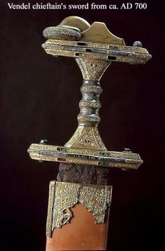 Vendel Sword, 700 AD. From boat grave I in Vendel. The famous burial place at Vendel church was found in late autumn 1881 when the cemetery was expanded. In Swedish prehistory, the Vendel era (550-793) was a part of the Germanic Iron Age (or, more generally, the Migration Period).  www.upptacksverigeshistoria.se/sok-besoksmal/visa/246/