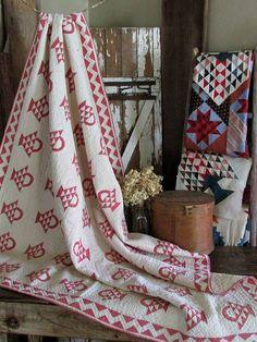 19th century Red & White Basket Quilt Vintageblessings