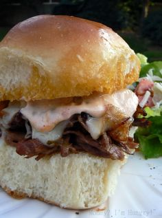 Saucy Roast Beef Sliders (Make the meat ahead in a Crock Pot)