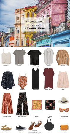 What to Pack for Havana, Cuba - Packing Light - livelovesara Are you wondering what to pack for Cuba? I have a Havana, Cuba packing list to help you on your way. Head over to my post for what to pack and outfit ideas. Vacation Outfits, Summer Outfits, Packing Outfits, Beach Outfits, Travel Outfits, Travel Capsule, Vacation Travel, Travel Packing, Cuba Travel