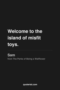 """""""Welcome to the island of misfit toys.""""  - Sam from The Perks of Being a Wallflower. #ThePerksofBeingaWallflower #moviequotes #movies #quotes"""