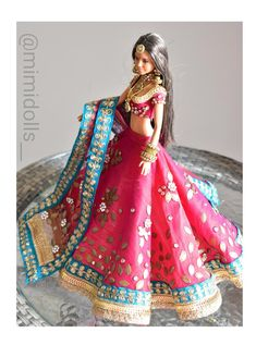 Heavily embellished magenta lehenga for a regular body type barbie doll. Please note:-(doll/jewelry not included ) Please Note: The color may vary due to different display screens Indian Party Wear, Indian Wedding Outfits, Indian Outfits, Stylish Dress Designs, Stylish Dresses, Barbie Dress, Barbie Clothes, Fashion Dolls, Girl Fashion
