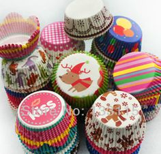 DIY 100PCS Christmas Kids New patterns design paper cupcake liners baking cup muffin cases cake!2 Broke Girls Cake cup-in Bakeware from Home...
