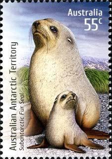 Sello: Subantarctic Fur Seal (Arctocephalus tropicalis) (Australia) (Species at Risk) Mi:AU 3249 Seal Cartoon, Australian Painting, Commemorative Stamps, Australian Animals, Penny Black, Fauna, Stamp Collecting, Mail Art, Marine Life