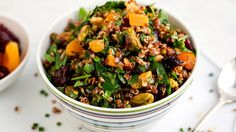 Rainbow Quinoa Salad With Mixed Nuts, Herbs and Dried Fruit