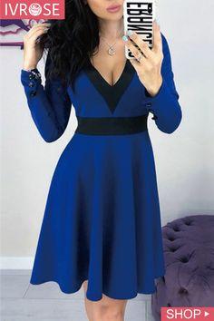 Blue Black Patchwork Buttons Draped V-neck Long Sleeve Midi Dress Blue Dresses, Casual Dresses, Mini Dresses, Elegant Dresses, Sexy Dresses, Tailored Dresses, Sparkly Dresses, Summer Dresses, Unique Dresses