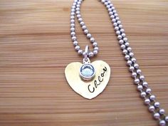 Brass Heart Jewelry, Grandma Necklace, Mom Necklace, Girl's Jewelry Birthstone Necklace, Name Necklace, 1 + Discs by CharmAccents on Etsy