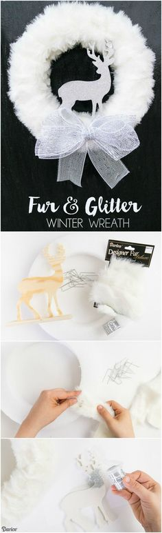 This glamorous DIY winter wreath comes together easily and can be customized with different faux fur types or glitter to match your existing holiday decor.