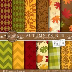 Autumn Leaves Digital Paper Fall Digital Paper Pack Autumn Scrapbooking Paper printable download leaf pattern decoupage instant downloads