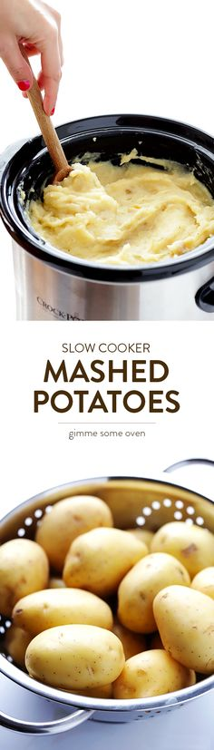 Learn how to make perfectly creamy and delicious mashed potatoes in the slow cooker!  All you need are a few simple ingredients, and your crock pot will do the rest.  So good!! | gimmesomeoven.com