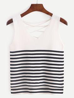 White Striped Lattice-Back Tank Top -SheIn(abaday)