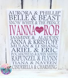 Disney Prince and Princess Wedding Art Print Beauty and the Beast Frozen Little Mermaid Canvas Sign by OliviaQuinnCouture on Etsy https://www.etsy.com/listing/178777568/disney-prince-and-princess-wedding-art