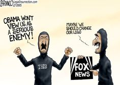 A Serious Enemy | Who is Obama's worst enemy, ISIS or Fox News? Obama and the left try to marginalize Fox news through Saul Alinsky tactics. is it working? Cartoon by A.F.Branco ©2015.
