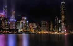 Download wallpapers Hong Kong, Two International Finance Centre, night, skyscrapers, cityscape, night lights, China