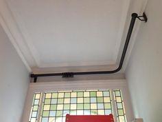 Anothony Bay Pole Door curtain, One bend, Graphite Door Curtain Pole, Bay Window Curtain Poles, Corner Curtain Rod, Corner Window Curtains, Curtain Rails, Hall Curtains, Front Door Curtains, Porch Doors, Front Door Entrance