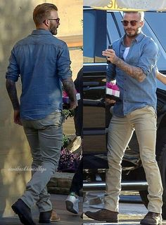 One David Beckham! There's only one David Beckham! Smart Casual Outfit, Stylish Mens Outfits, Casual Outfits, Men Casual, Estilo David Beckham, David Beckham Style, David Beckham Photos, Gents Hair Style, David And Victoria Beckham