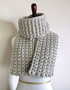 Easy & super fast scarf to make! It is chunky & will definitely keep you warm. The pattern will look nice using any type of yarn if you don't want is so thick.