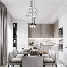 Most beautiful elegant modern dining room design ideas 2 Kitchen Room Design, Luxury Kitchen Design, Kitchen Cabinet Design, Dining Room Design, Home Decor Kitchen, Interior Design Kitchen, Home Kitchens, Kitchen Dining, Küchen Design