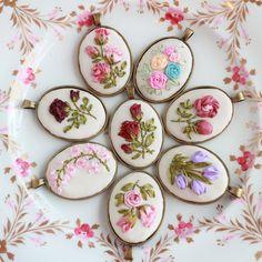 Pendant Necklace Pink Roses Silk Ribbon by ShabbySugarplum on Etsy