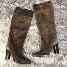 80129d1a10e5 Michael Kors Shoes   Michael Kors Suede Wingtip Knee High Heeled Boots    Color: Brown