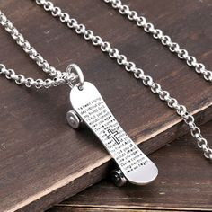 Men's Sterling Silver Skateboard Necklace - Jewelry1000.com