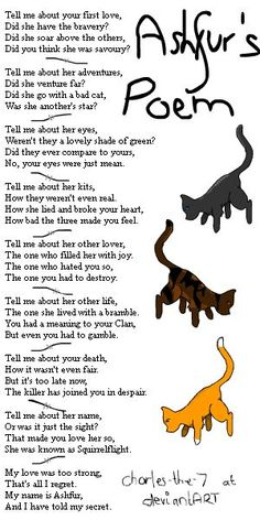 Warrior cat poem contest!!!you have to write a poem then have a drawing of that cat by it!! Ends next saturday!!