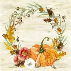 """Fall Autumn Harvest Wreath on Birch Bark Watercolor Canvas Print / Canvas Art by Audrey Jeanne Roberts autumn Canvas Print featuring the painting """"Fall Autumn Harvest Wreath On Birch Bark Watercolor"""" by Audrey Jeanne Roberts Fall Canvas Painting, Autumn Painting, Watercolor Canvas, Wreath Watercolor, Autumn Art, Fall Paintings, Autumn Prints, Fall Drawings, Fall Harvest"""