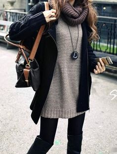 purple scarf, grey thick knit sweater, black cardigan, black leggings, black boots