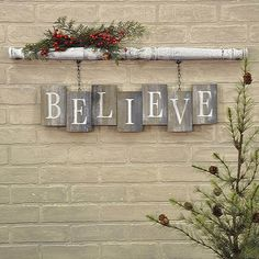 Believe Wood Tile and Chain Wall Decor