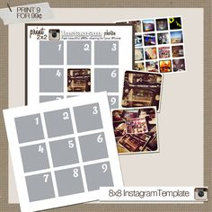 free template for instagram photos...perfect for scrapbooking/printing at home.