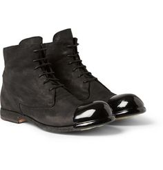 Officine CreativeBubble Rubber-Toed Suede Lace-Up Boots