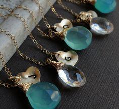 Bridesmaid Gifts Seven Gold Initial  & Birthstone by OtisBWeddings, $203.00