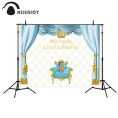 Allenjoy photography backdrops birthday backdrop for baby Crown children blue curtains Customized party Photophone Camera