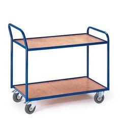GTARDO.DE:  Tischwagen 2 Etagen (Griff hoch), Tragkraft 300 kg, Ladefläche 990x590 mm, Maße 1110x600 mm, Rad-Ø 125 mm 186,00 €