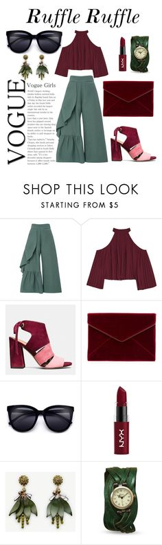 """""""Greenery Ruffle"""" by ntqnga ❤ liked on Polyvore featuring Rachel Comey, W118 by Walter Baker, Coach, Rebecca Minkoff, NYX and Ann Taylor"""