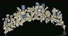 Sapphire and diamond tiara circa 1850 for Barberini family