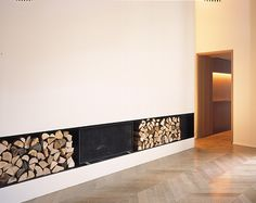 fire place and stacked wood
