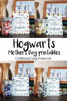 Hogwarts Mother's Day printables | Happy Mother's Day to the best mom in the Hogwarts houses! Download these free printable cards and make a sweet gift for mom with candy in a canning jar.  #Hogwarts #MothersDay #HarryPotter #giftideas #giftsformom