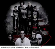 Mikey Way's Leg's hahaha! It was probably to make him shorter for the video/pics
