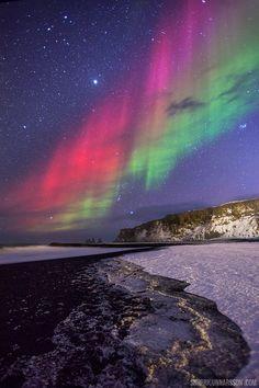 Vík Black Beach Aurora by Snorri Gunnarsson