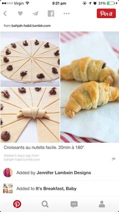 Essen These croissants are quick and easy to make, and perfectly flaky and Nutella-licious. Delicious Desserts, Dessert Recipes, Yummy Food, Amazing Food Recipes, Nutella Croissant, Breakfast Croissant, Chocolate Croissant Recipe Puff Pastry, Braided Nutella Bread, Nutella Puff Pastry